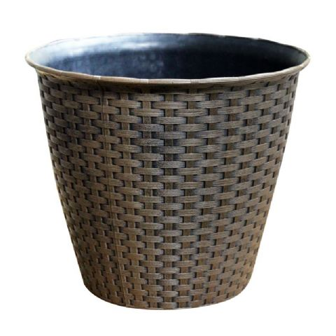 Large Brown Rattan Effect Plastic Planter Pot 29cm Kingfisher Garden